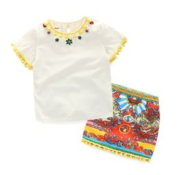 Wholesale 2016 Fashion Clothing Set Girls Diamond Balls T shirt Vintage Print Skirt TUTU Outfits Kids Clothes Grid Outwear Skirt Suit KB499