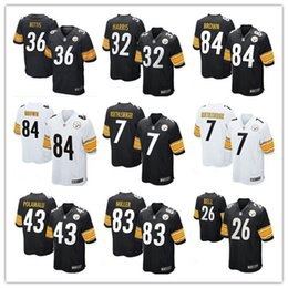 Wholesale 2016 hot sale Youth football Youth Jerseys Pittsburgh cheap Steelers Antonio Brown jerseys authentic football shirt size S XL