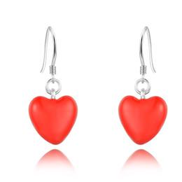 925 Sterling Silver Red Enamel Painted Heart Drop Earrings for Women dangle earring sterling silver earring