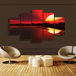 5p modern Home Furnishing HD picture Canvas Print art wall of the sitting room children room decoration theme -- Red dusk