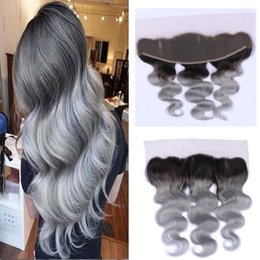 13*4 Lace Frontal Closure Brazilian Body Wave Lace Frontal Human Hair Extension T1B Gray Middle Three Free Part Natural Hairline