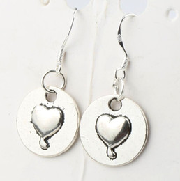 Wholesale 2016 hot x32mm Antique Silver Heart Round Mark With Love Charm Pendant Earrings Silver Fish Ear Hook Chandelier Jewelry E922
