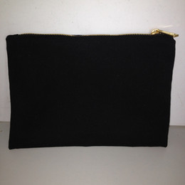Wholesale Black cotton canvas makeup bag with matching color lining x10in gold zip cotton pouch custom cotton bag canvas bag for DIY print paint