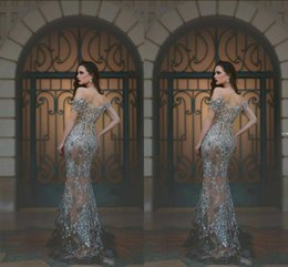 Sparkly Crystals Beaded Evening Dresses 2016 Sexy Off Shoulder See Through Mermaid Prom Dresses Custom Made Luxury Formal Party Gowns