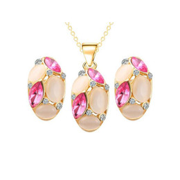 Wholesale Bridal Wedding Jewelry Sets K Gold Plated Opal Crystal Cluster Stud Earrings Pendant Necklace for Women