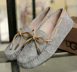 Wholesale Australian brand designer Fur women flat shoes Luxury brand Genuine Leather women s flat shoes loafers