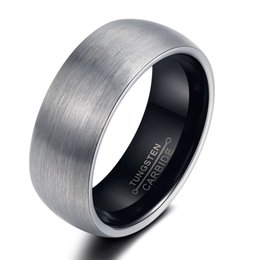 Wholesale 2016 Fashion Mens Womens Black Tungsten Carbide Steel Wedding Promise Ring Beveled Edge Band Ring Couple Wedding Bands High Polish