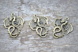 Wholesale 10pcs Antique tibetan bronze tone Lovely Flying Dragon Charms Pendant x35mm