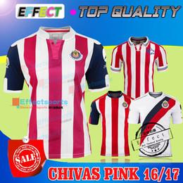 Wholesale 2016 Guadalajara SPECIAL COMMEMORATIVE años de Chivas Soccer Jersey A PULIDO O PINEDA Maillot de foot away pink white shirts