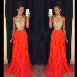 Shinning Halter A-line Long Prom Evening Dresses Crystal Beaded Dresses Evening Wear Chiffion Special Occasion Dresses Real Image