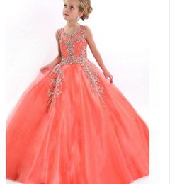 Wholesale 2016Pure with string of ball gown flower girl dress beautiful coral beauty little girl dress