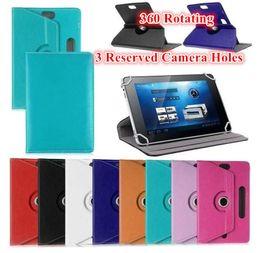 Soportar pulgadas en venta-Universal 360 que gira el caso de cuero ajustable del soporte de la PU con 3 agujero reservado de la cámara para la PC de la tableta 7 pulgadas MEDIADOS DE GPS PSP