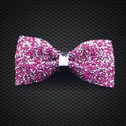 Rose Red Crystal Bow Ties Mens Fashion Accessories Wedding Party Adjustable New Style Bow Ties F-201