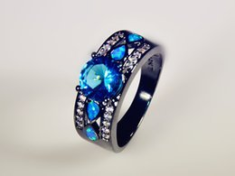 Wholesale & Retail Fashion Fine Blue Fire Opal Rings with Blue Cubic Zirconia 10KT Black Gold Filled ROF1507002