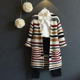 Wholesale newborn kids sweater Girls Fashion Knitted Cardigan Children Geometry Shawl Baby Sweater Kids Outwear Autumn Sweater truelovewangwu