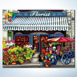 Wholesale Flower Shop Wall Art DIY Painting Baby Toys x50cm Infant Canvas Oil Painting Drawing Wall Art for Children with Green Acrylic