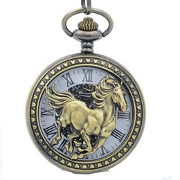 Wholesale top designer name brand Black Mechanical pocket watches crystal high quality movements hand wound beautiful gallant horse pocket watch