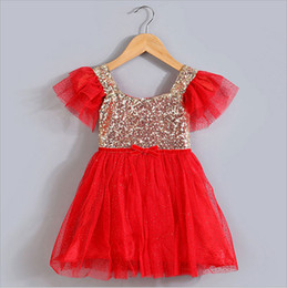 Free shipping 2018 cute fashion summer gold sequins mesh dress girls kids knee length children dresses clothes white purple 5 colors