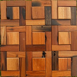 Wholesale Natural wood mosaic tiles wall mounted tiles floorings ocean sea wood TV background bar shop bathroom backsplash tiles