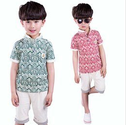 Children suit 2016 summer models of child cotton short-sleeved suit short-sleeved two-piece suit uniforms burst models summer paragraph