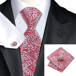 Men's Wedding Pink Red Silk Tie Cufflinks Hanky Jaquard Woven New Arrival Floral Necktie Sylish Formal Meeting N-0965