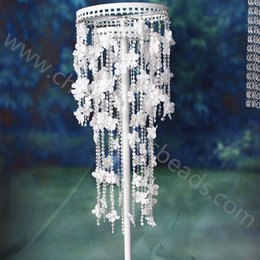 Wholesale CM white flower iridescent beaded garland string with fabric artificial flower wrap roller trimming M