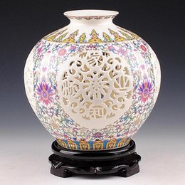 Wholesale Jingdezhen ceramics powder enamel vase hollow out thin body Pomegranate modern classical household decorates sitting room furnishing article