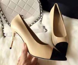 La conception de chaussures de couleur à vendre-Brand Design Couleur mixte Pointu Pearls Toe cuir véritable Office Lady Parti High Heel Robe Pompes Lady Chaussures Femme Sz 35-39