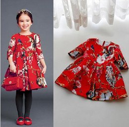 wholesale 2016 Spring and Autumn summer children's clothing baby girls princess party printed dresses kids clothing clothes baby girls dress