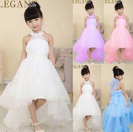 Compra Online Faldas para las muchachas de los niños-Los nuevos 2016 niños que usan la princesa del vestido de boda de la falda muchachas de la flor de la correa de hombro Vestido sin mangas de las muchachas