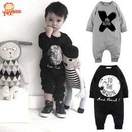 Wholesale Spring Autumn Fashion Baby Boy Clothes Cotton Baby Girl Romper Long Sleeve Baby Jumpsuit One pieces No Sleep to the Moon Outfits