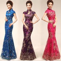 Wholesale Hot sale Slim Chinese Cheongsam dress Embroidery print dress Retro wedding etiquette cheongsam Hospitality etiquette clothing