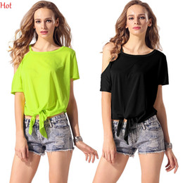 Hot Summer Style Women Blouse Casual Loose O-Neck Shirts One Shoulder Short Sleeve T-shirt Knot Irregular Blouse Tops Black Yellow YC000390