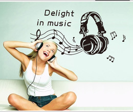 Wholesale Headset music wallpaper Can be removed wall stickers children bedroom background adornment PVC waterproof DIY stickers