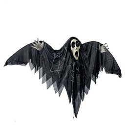 Wholesale Newly Halloween Prop Voice Control Hanging Bat Skull Horror Glowing Eyes Ghost Haunted House Bar Decor Festival Party Supplies