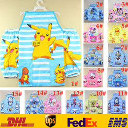 Wholesale 32 Style New Children Poke Pikachu Apron Bibs Kids Cartoon Handmade Painting Eating Playing Calligraphoy Apron With Cuff GD B06