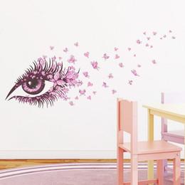 Beautiful Girls Eye pink butterfly decor living room decor DIY art wall sticker home decals