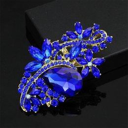 Wholesale Rhinestone Crystal Wedding Brooches Waterdrop Decorative Buckle Broach Breastpin Bouquet Decoration Dress Ornament Valentine Day Gift