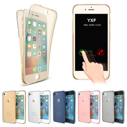 360 Degree Full Coverage Case For iPhone 4S 5S SE 6S 6SPlus 7 7 Plus Soft TPU Clear Back Cover Smart Touch Screen Transparent Bag