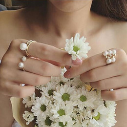 Rings Sets Fashion Pearl Ring Gold & Silver Finger Joint Rings 4 Women Full Diamond Vintage Rings All-Purpose Style Band Rings Women Girls