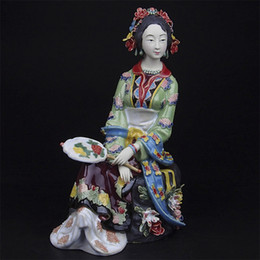 Wholesale Collectible Sculpture Decoration Chinese Antique Imitation Female Ceramic Statue as Christmas Gifts Porcelain Shiwan Dolls