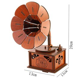 Wholesale DIY D Wooden Jigsaw Gramophone Model Construction Kit Toy Puzzle Gift