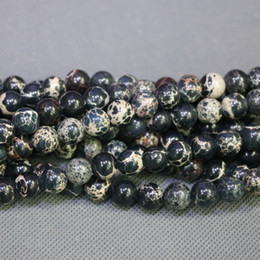 Jasper Natural Stone Black Gemstone Emperor Imperial Jasper Beads Round Smooth Beads Wholesale Price Women Necklace Making Jewelry