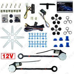 LEEWA Car Auto Universal 2-Doors Electric Power Window Kits with 3pcs Set Switches and Harness #902