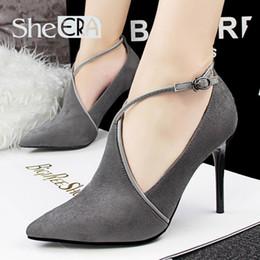 Wholesale Sexy Gladiators Shoes - Wed shoes Sexy Stiletto High Heels Women Shoes Hollow Deep Mouth Pumps Dames Schoenen Suede Shoes Woman Scarpe Donna