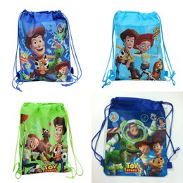 Wholesale MOQ Toy Story Cartoon Kids Drawstring Backpack Bags Shopping School Traveling GYM bags waterproof fabric Kids Best Party Gift Bags