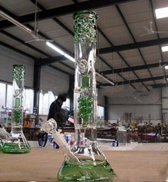 Eaux fraîches en Ligne-grâce bécher bong avec Thick 18mm tube droit commun est perlée qround bongs d'eau en verre refroidissent regarder vert pipe à eau en verre narguilés Bongs