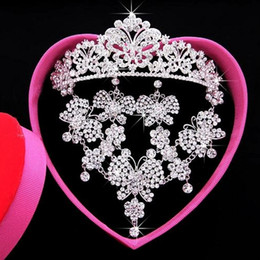 Wholesale Crystal Crown Crystal Earbob Crystal Necklace full set Bridal Accessories Exquisite packaging Actual Images Have in stock