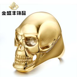 Wholesale 50pcs European and American punk style personality titanium steel ring ring fashionistas must skull ring RC G