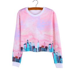 Moderne impression Ville filles occasionnels recadrées sweatshirts dames automne femmes de la mode des vêtements à manches longues pullovers mix gros ordre de factotry à partir de dame ville fabricateur